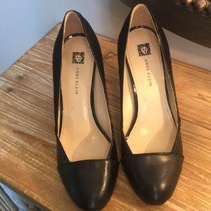 Anne Klein Black Leather High Heels